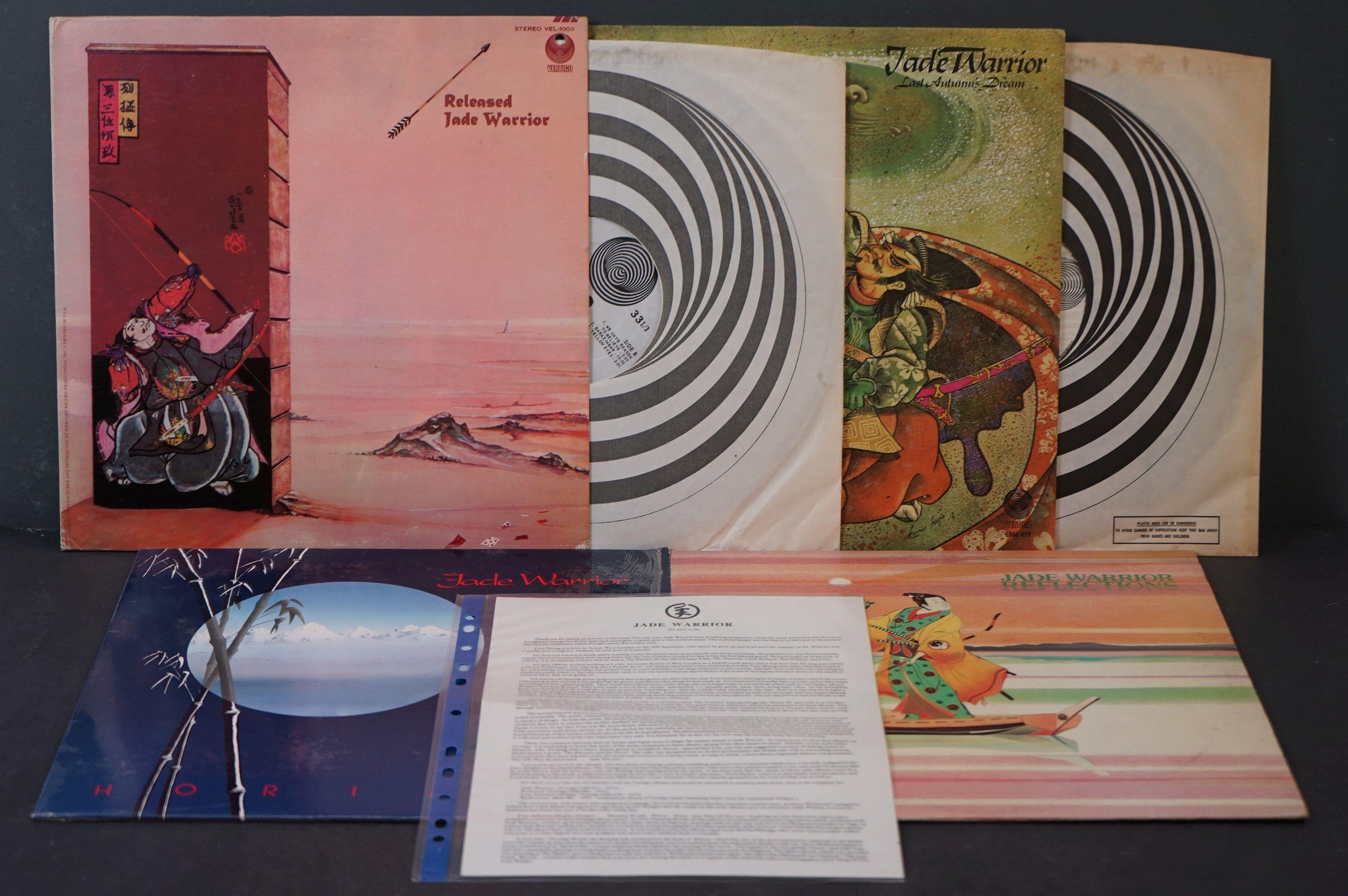 Vinyl - Four Jade Warrior LPs to include Last Autumn Dream LP on Vertigo Deluxe 6360079 gatefold