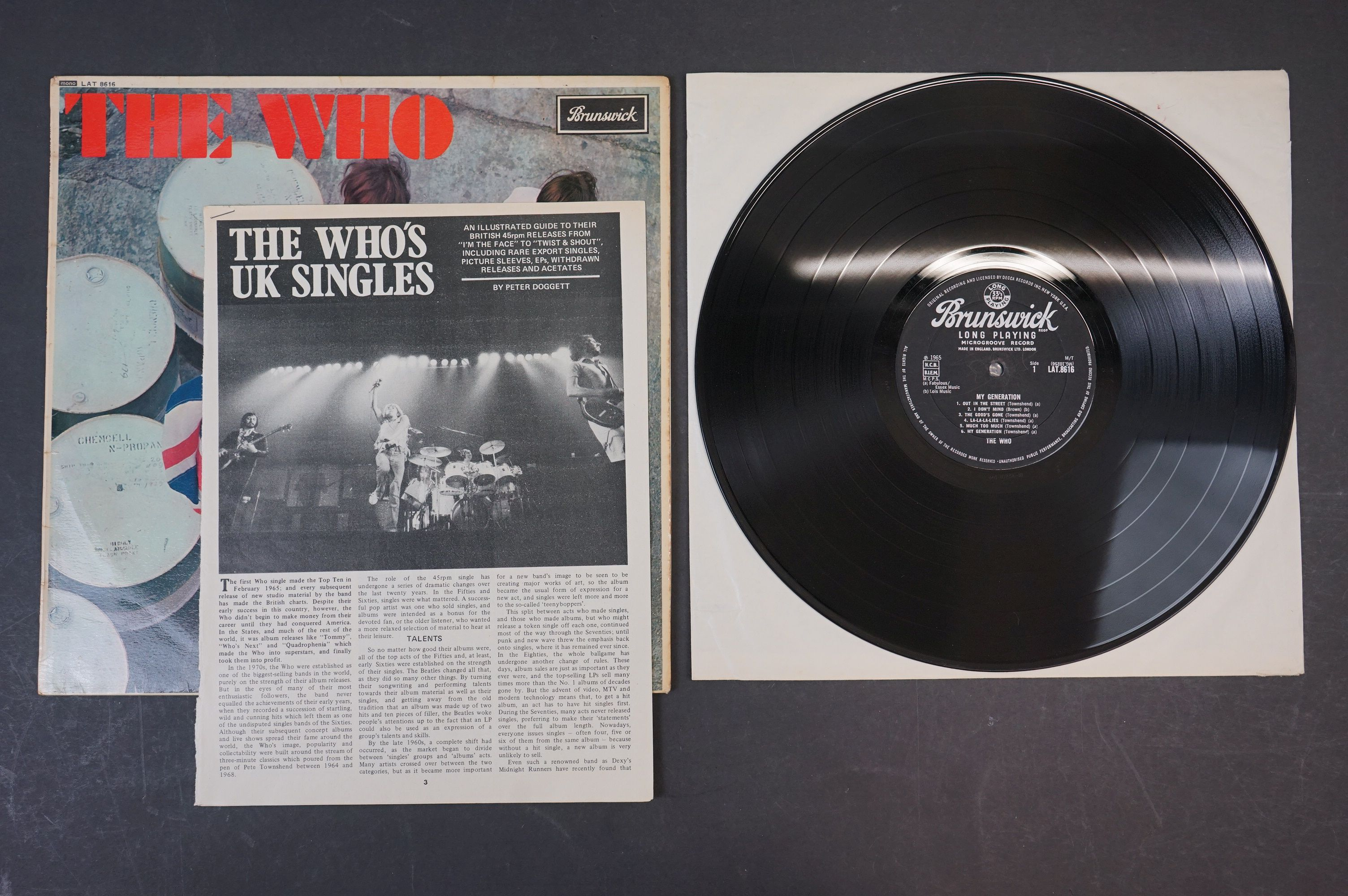 Vinyl - The Who My Generation LP on Brunswick LAT8616 mono with laminated front sleeve, silver &