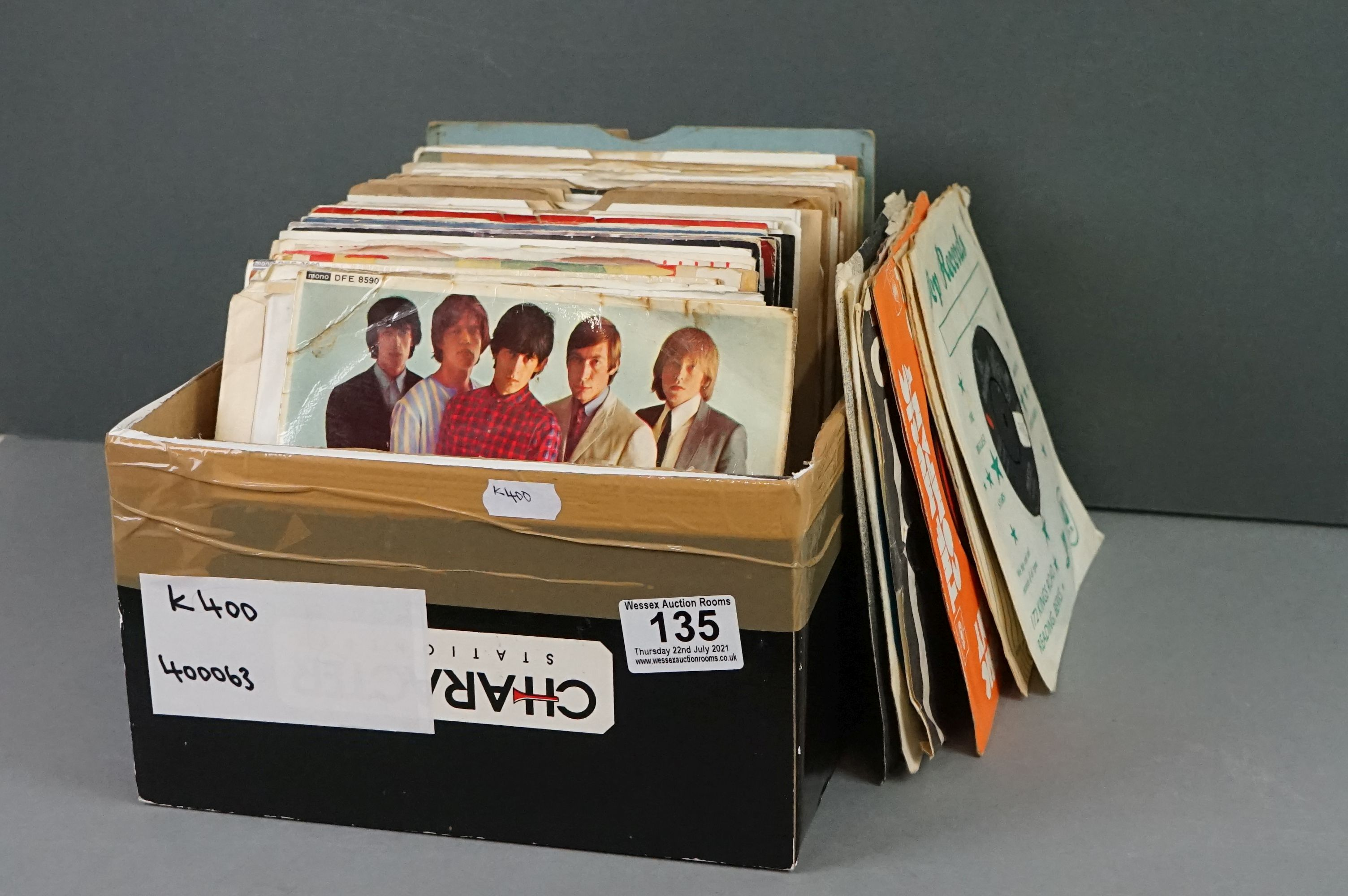 """Vinyl - 100+ 7"""" singles/EPs, mostly 1960s/1970s rock & pop, to include Rolling Stones, Beatles, Who,"""