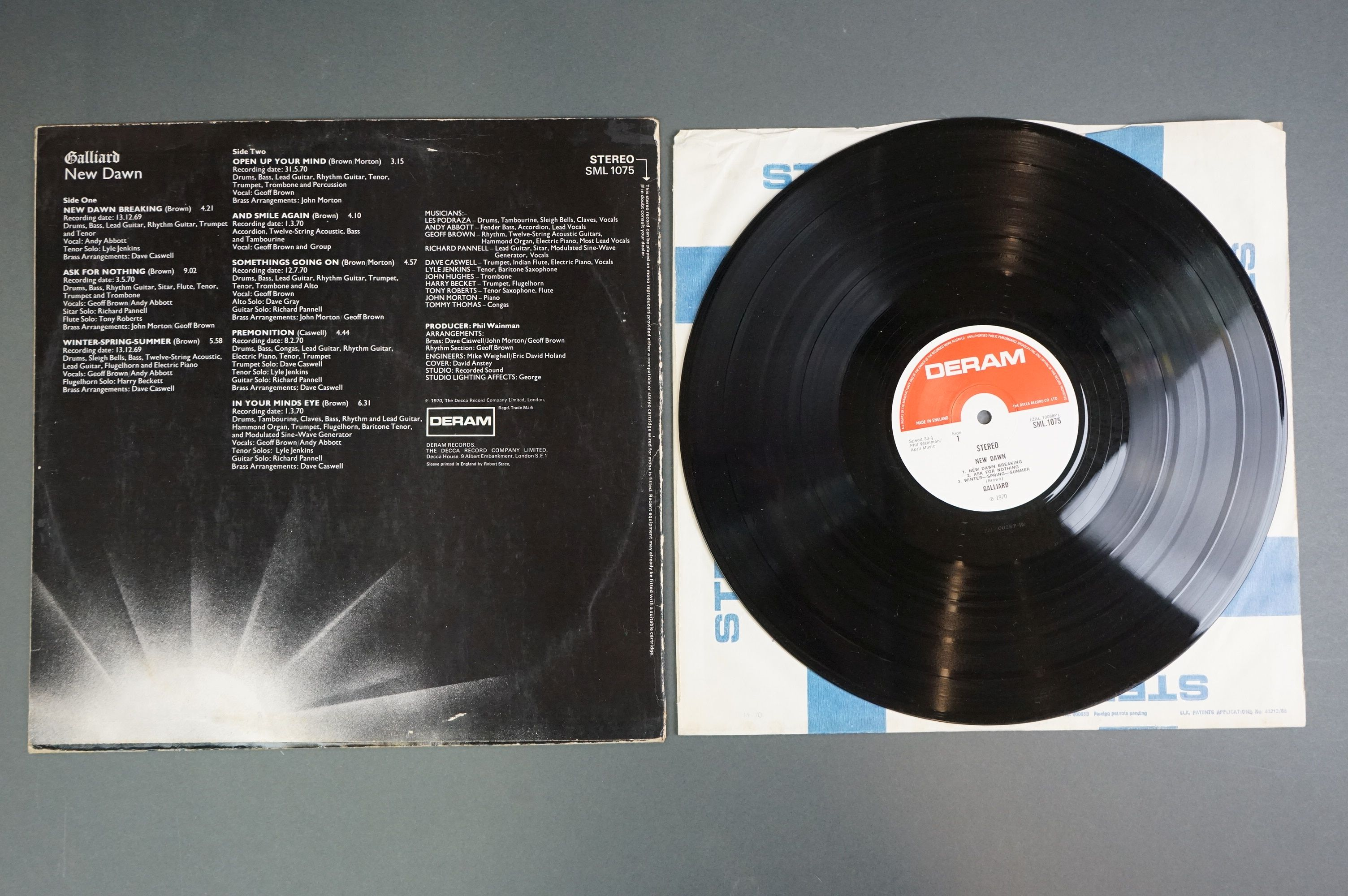Vinyl - Galliard New Dawn SML1075 LP with red and white Deram label, small logo, sleeve vg- with - Image 3 of 3