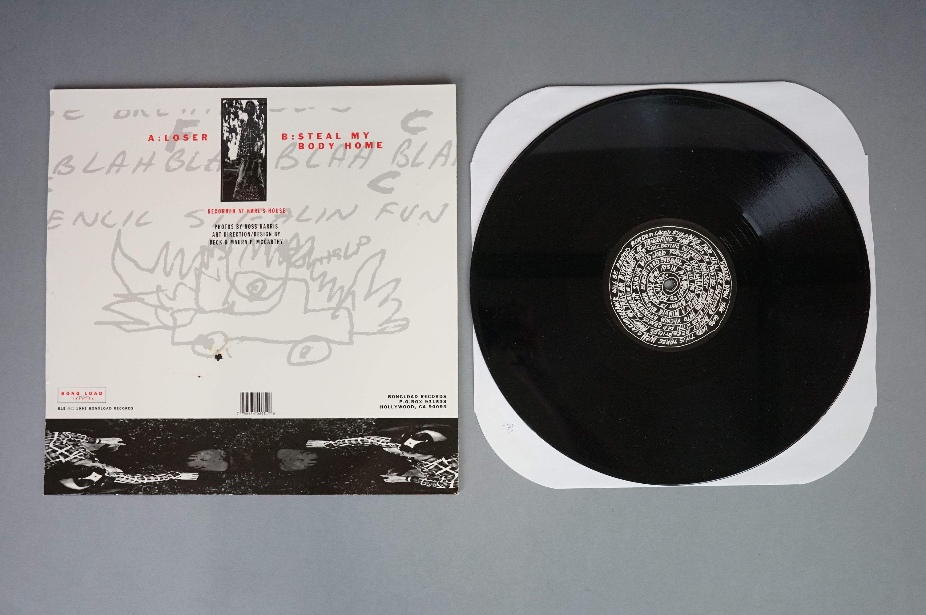 """Vinyl - Beck - Two 12"""" singles to include Loser BL5 and Where It's At, both vg+ with vendor initials - Image 3 of 6"""