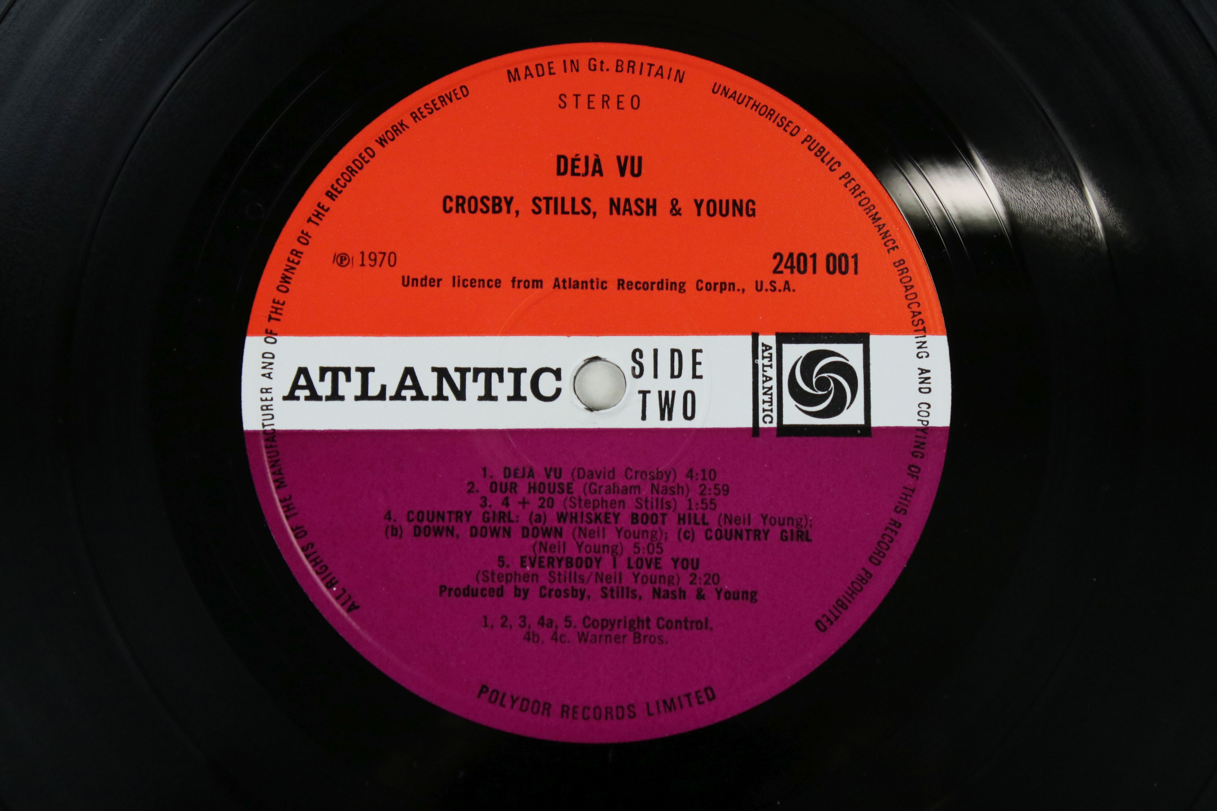 Vinyl - Crosby, Stills, Nash & Young Deja Vu (Atlantic 2401 001) red and plum Atlantic label with - Image 3 of 4
