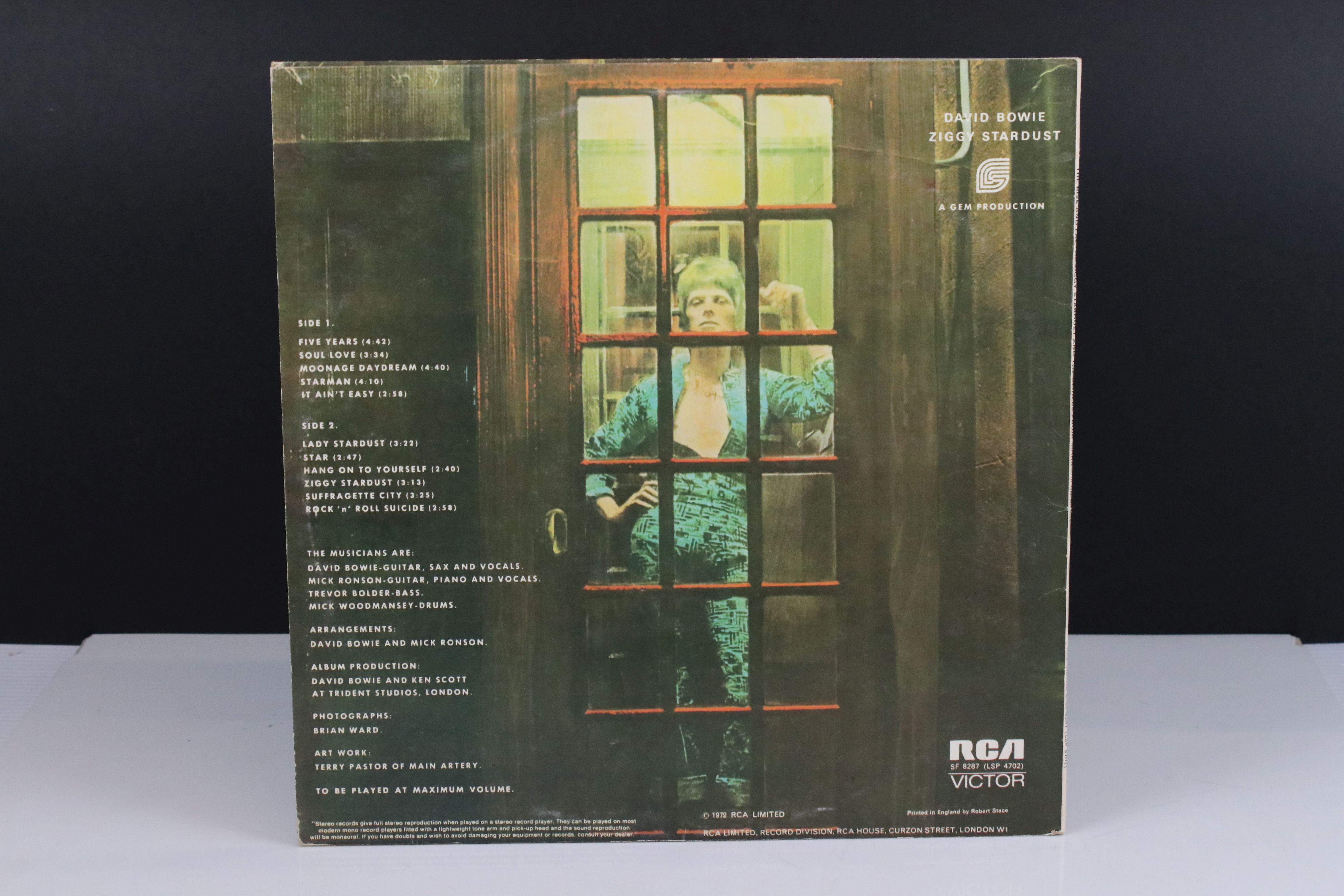 Vinyl - David Bowie The Rise and Fall of Ziggy Stardust LP on RCA8287, shiny orange RCA label, - Image 7 of 7
