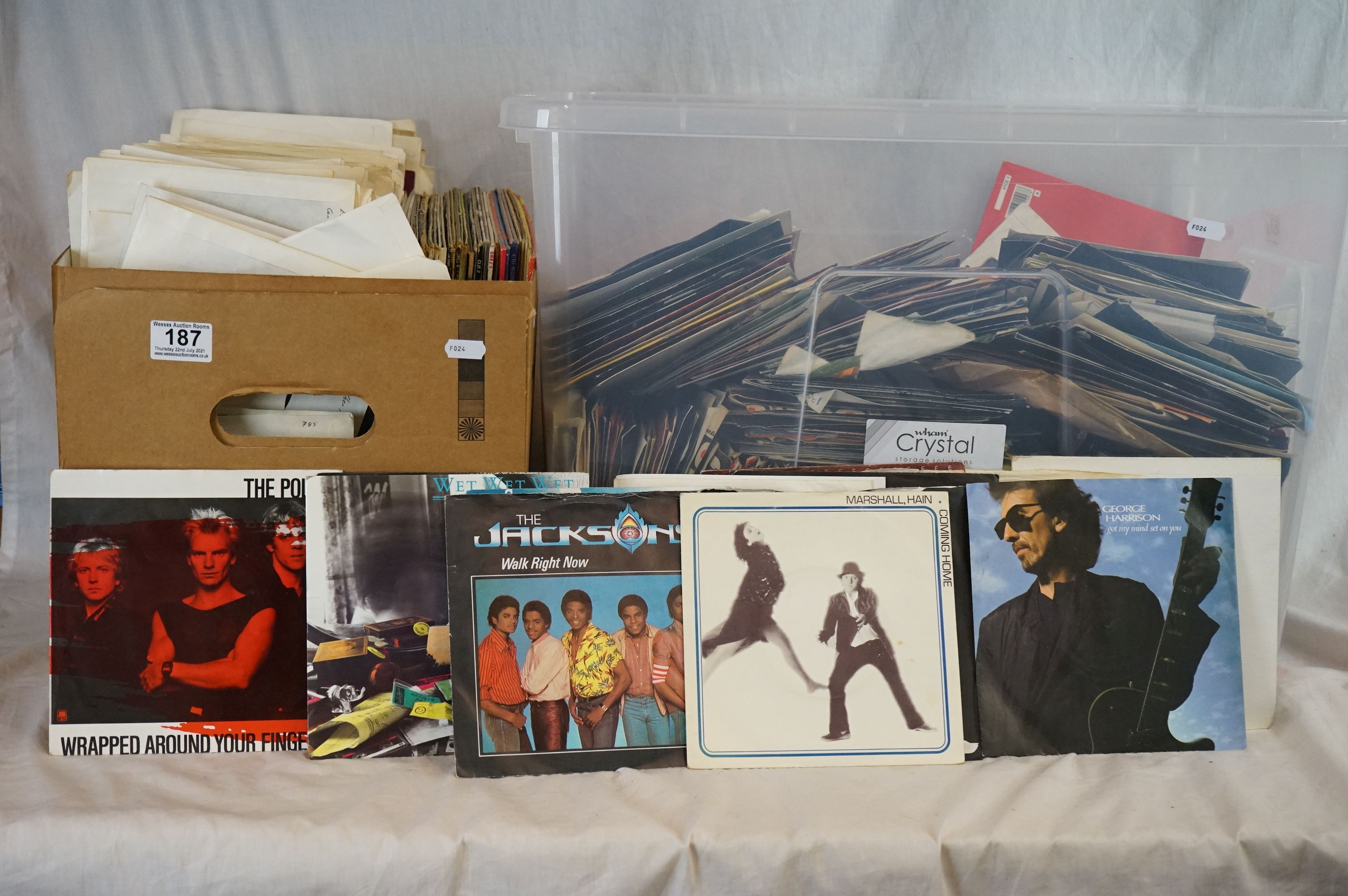 """Vinyl - Approx 300 vinyl 7"""" singles spanning the genres and the decades together with a small"""