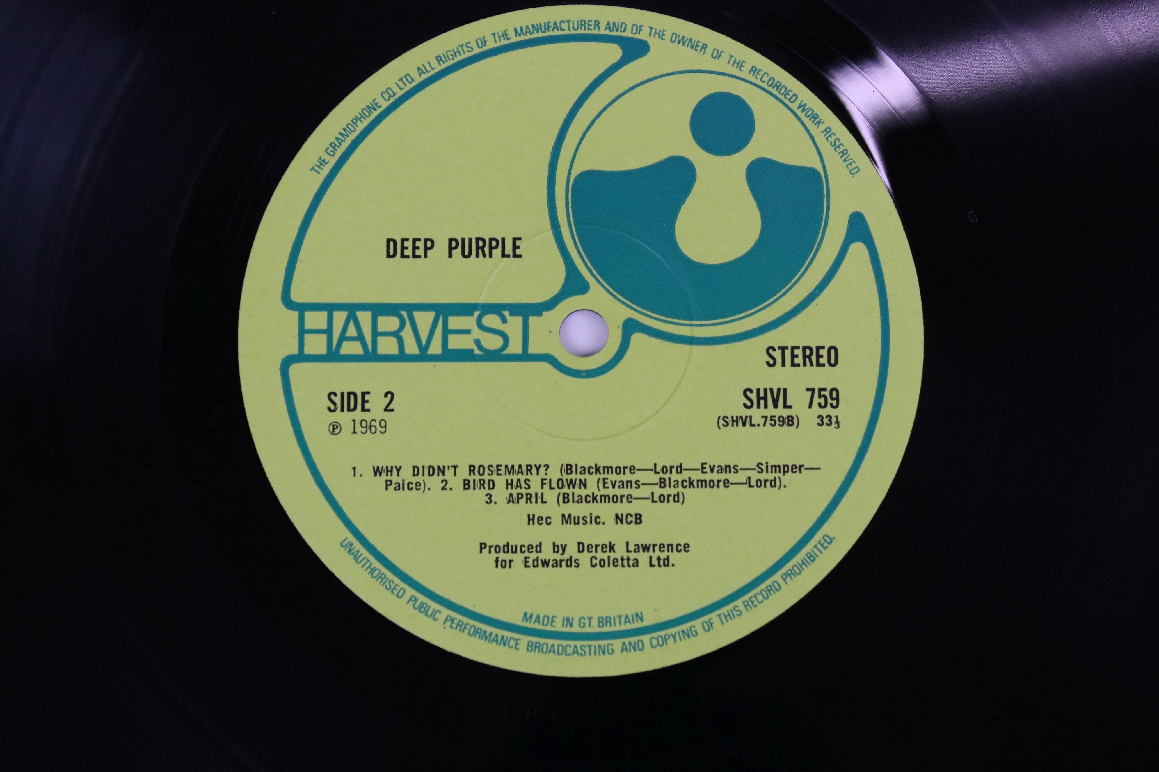 Vinyl - Deep Purple self titled (Harvest SHVL 759) no EMI on label, EMI and Harvest on front sleeve, - Image 4 of 5