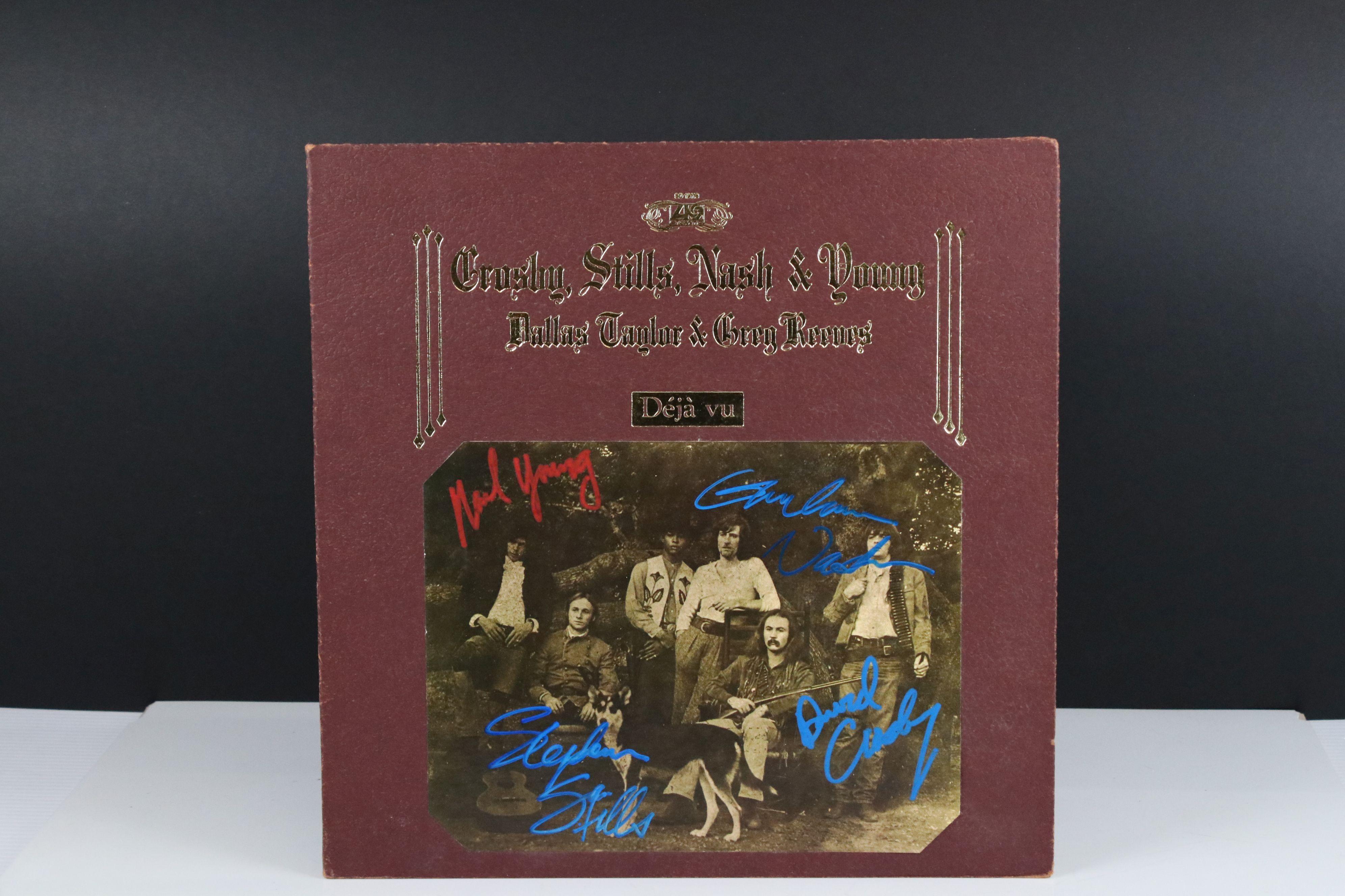 Signed Vinyl - Crosby Stills Nash & Young Deja Vu LP US pressing on Atlantic SD19118, signed by