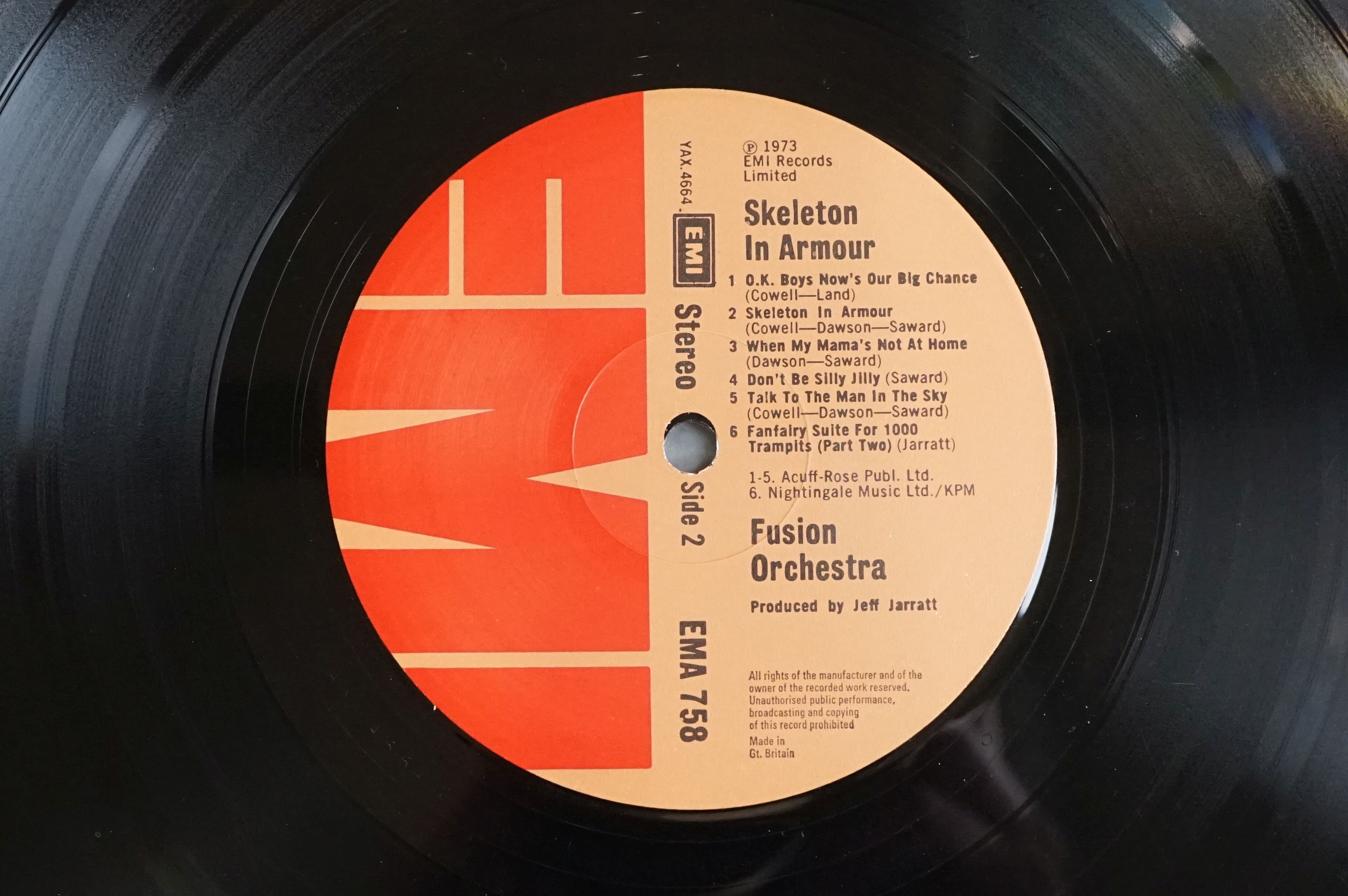 Vinyl - Fusion Orchestra Skeleton In Armour LP EMA758, sleeve vg+ with buffering to corners, - Image 6 of 6