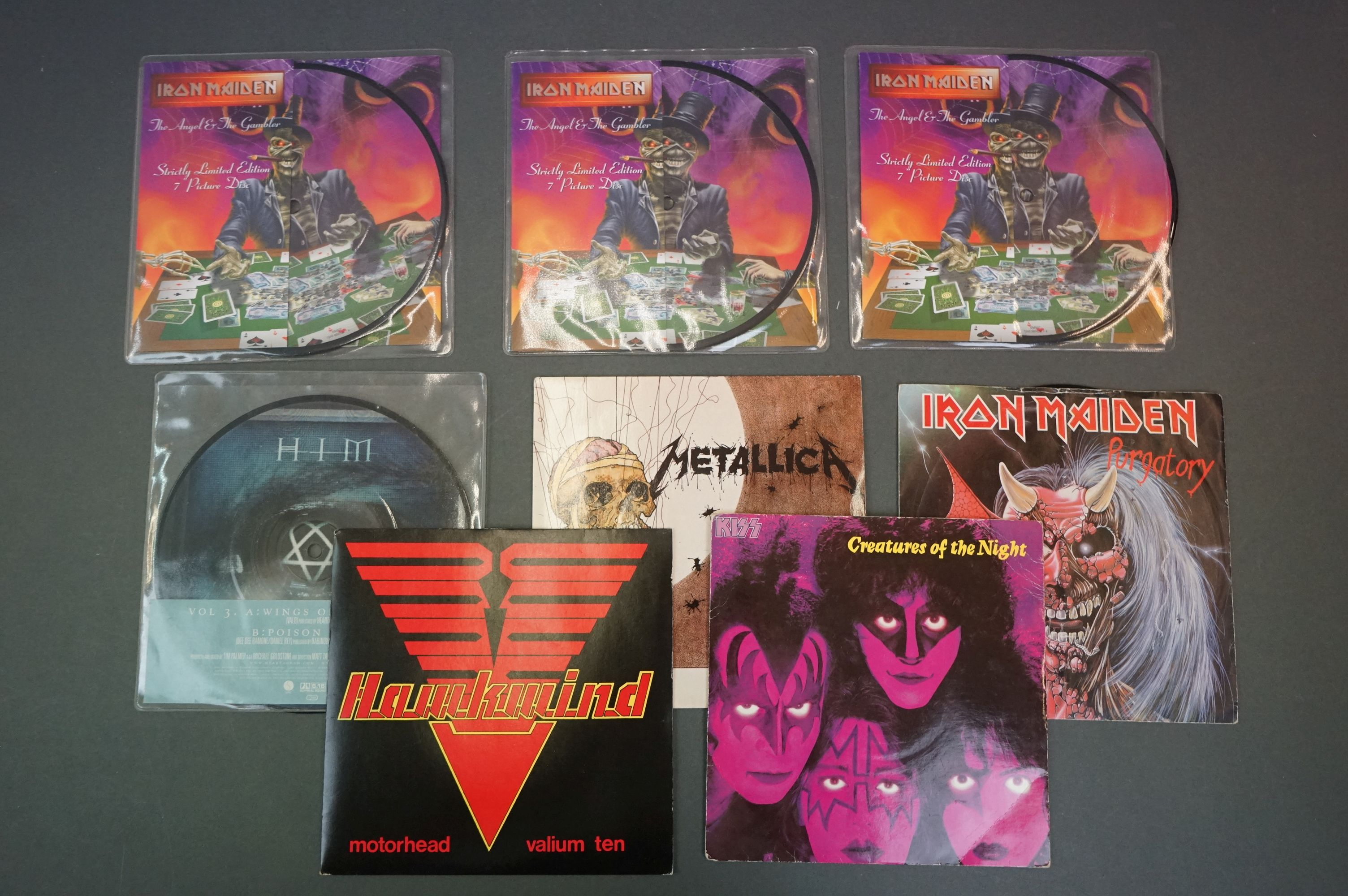 """Vinyl - Metal / Rock collection of 8 7"""" singles including Iron Maiden The Angel & The Gambler"""