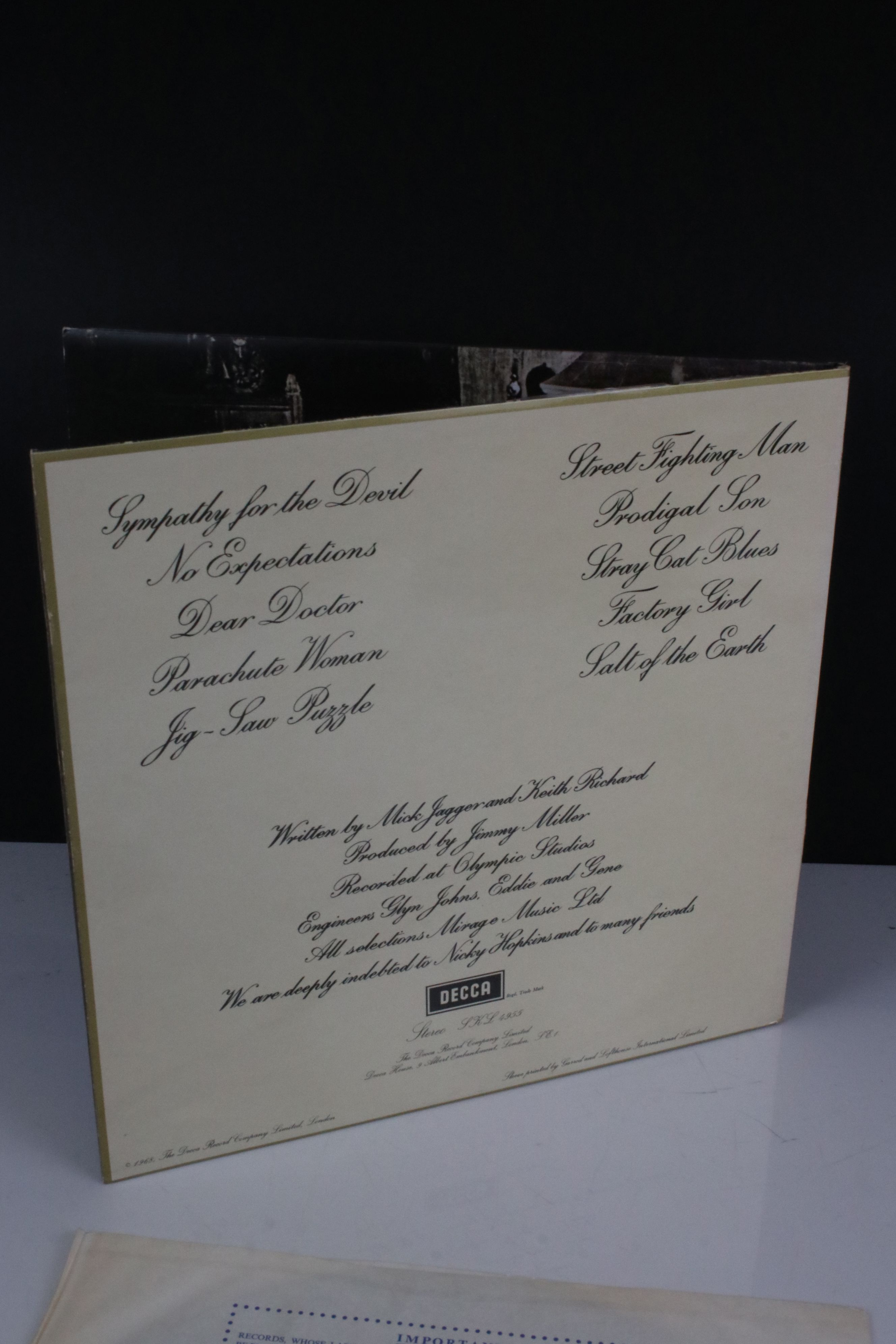Vinyl - The Rolling Stones Beggars Banquet (SKL 4955) blue Decca label, Mirage Music, titles - Image 6 of 6