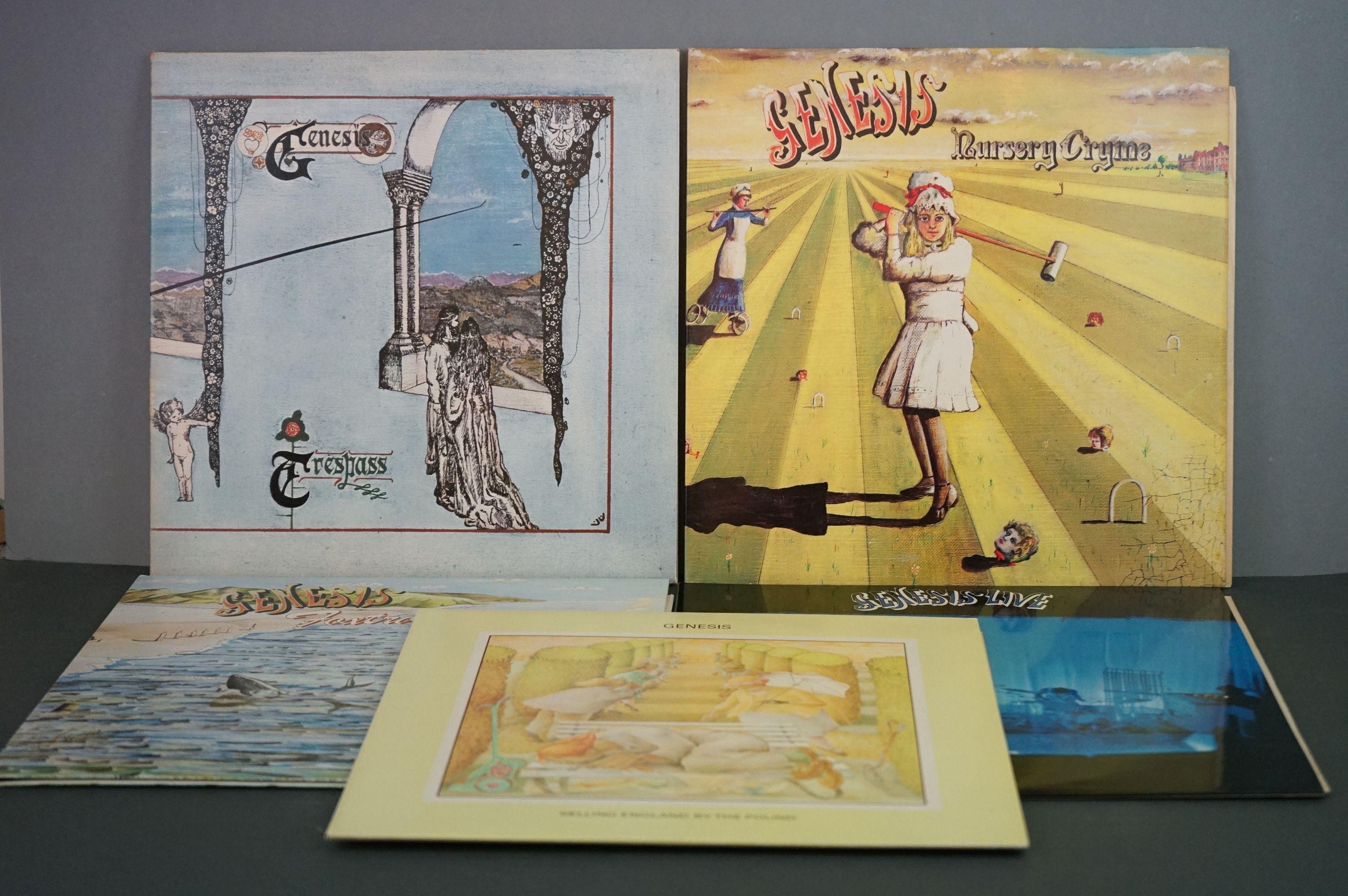 Vinyl - Five Genesis LPs to include Trespass (CAS1020), Nursery Cryme (CAS1052), Foxtrot (