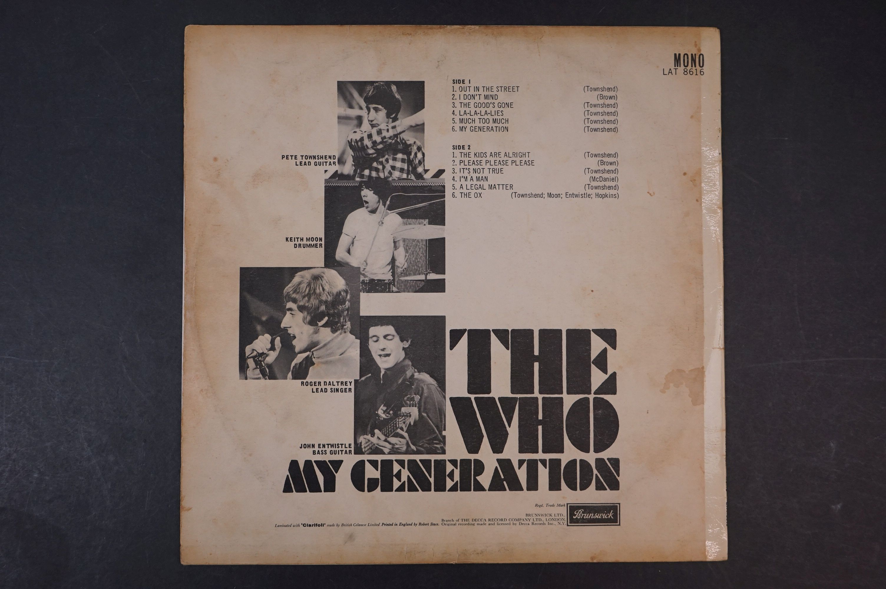 Vinyl - The Who My Generation LP on Brunswick LAT8616 mono with laminated front sleeve, silver & - Image 8 of 8