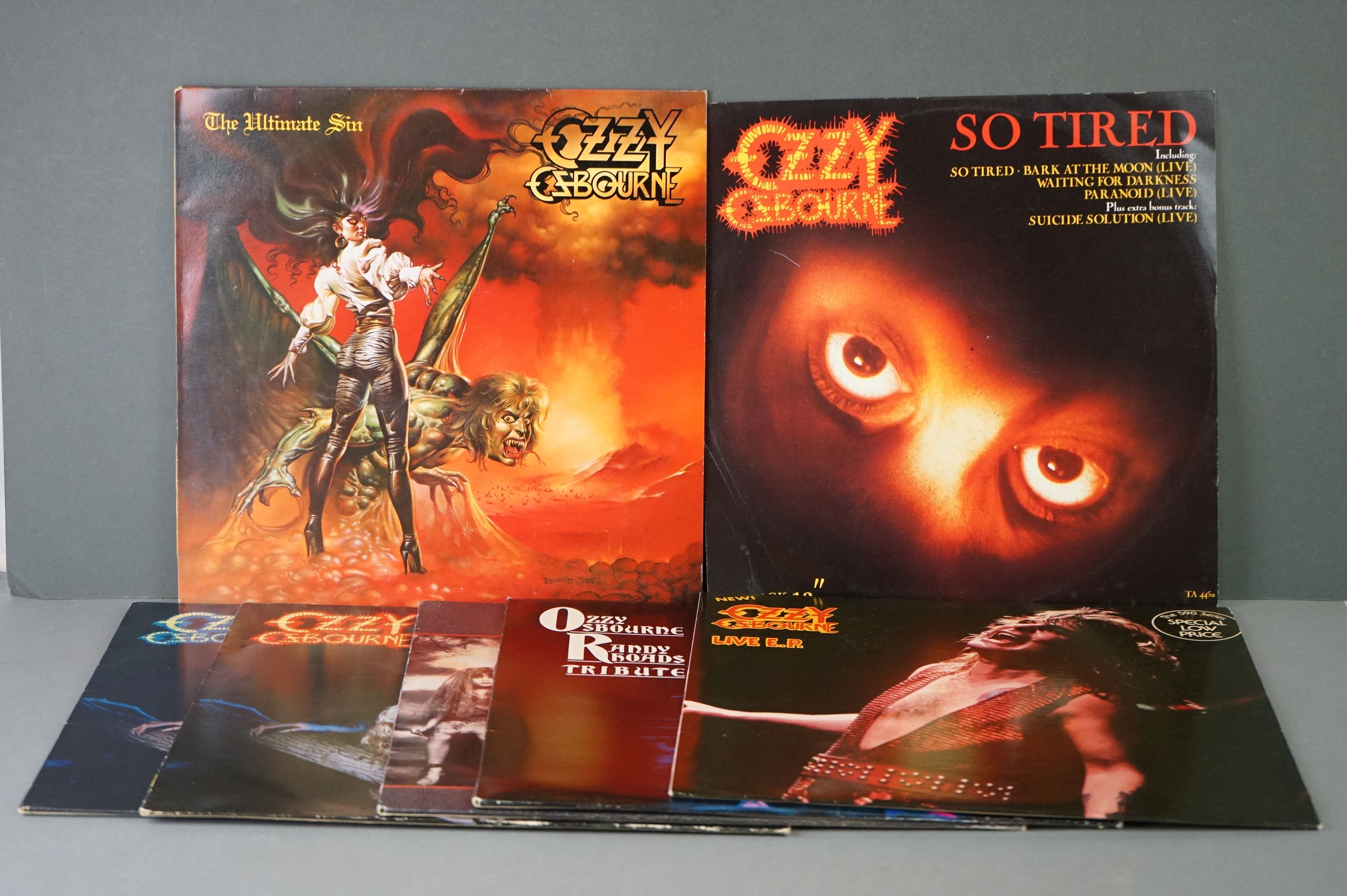 Vinyl - Six Ozzy Osbourne vinyl LP's to include The Ultimate Sin (Epic Records 26404), Live E.P. (