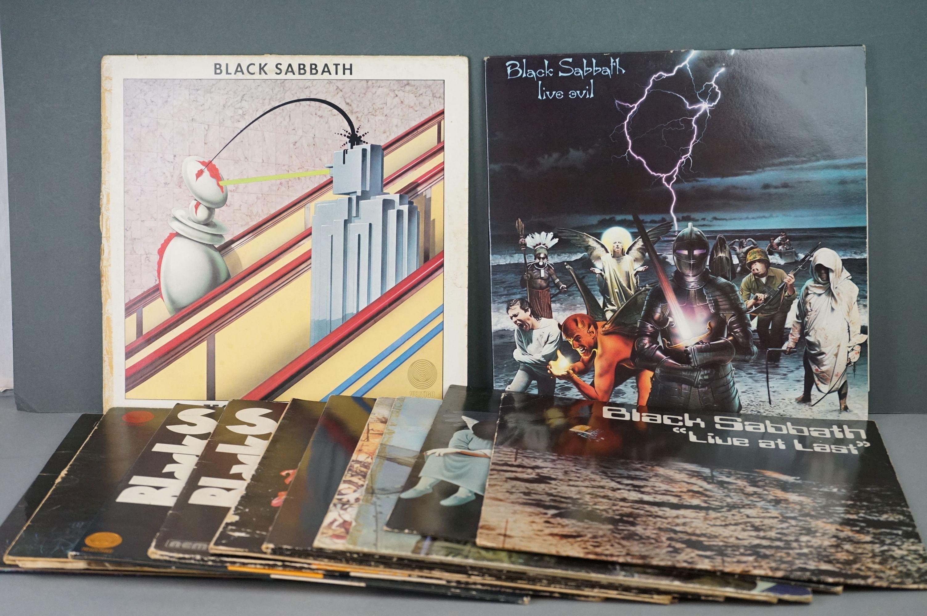 Vinyl - Twelve Black Sabbath vinyl LP's to include Technical Ecstasy (Vertigo Records PRICE 40),