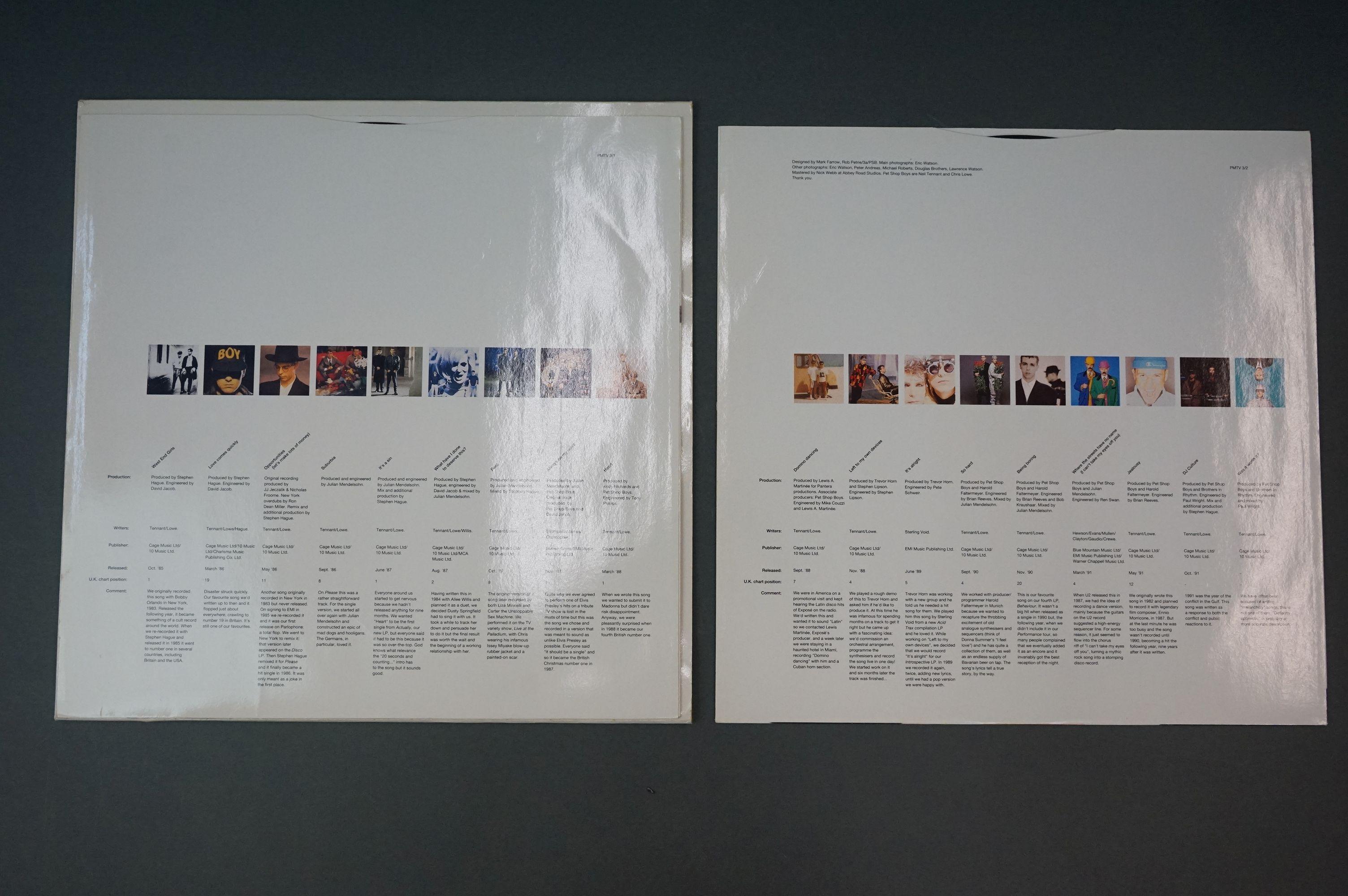 Vinyl - Pet Shop Boys Discography Double Album on Parlophone PMTV3 in sleeves ex, vinyl vg+ - Image 3 of 6