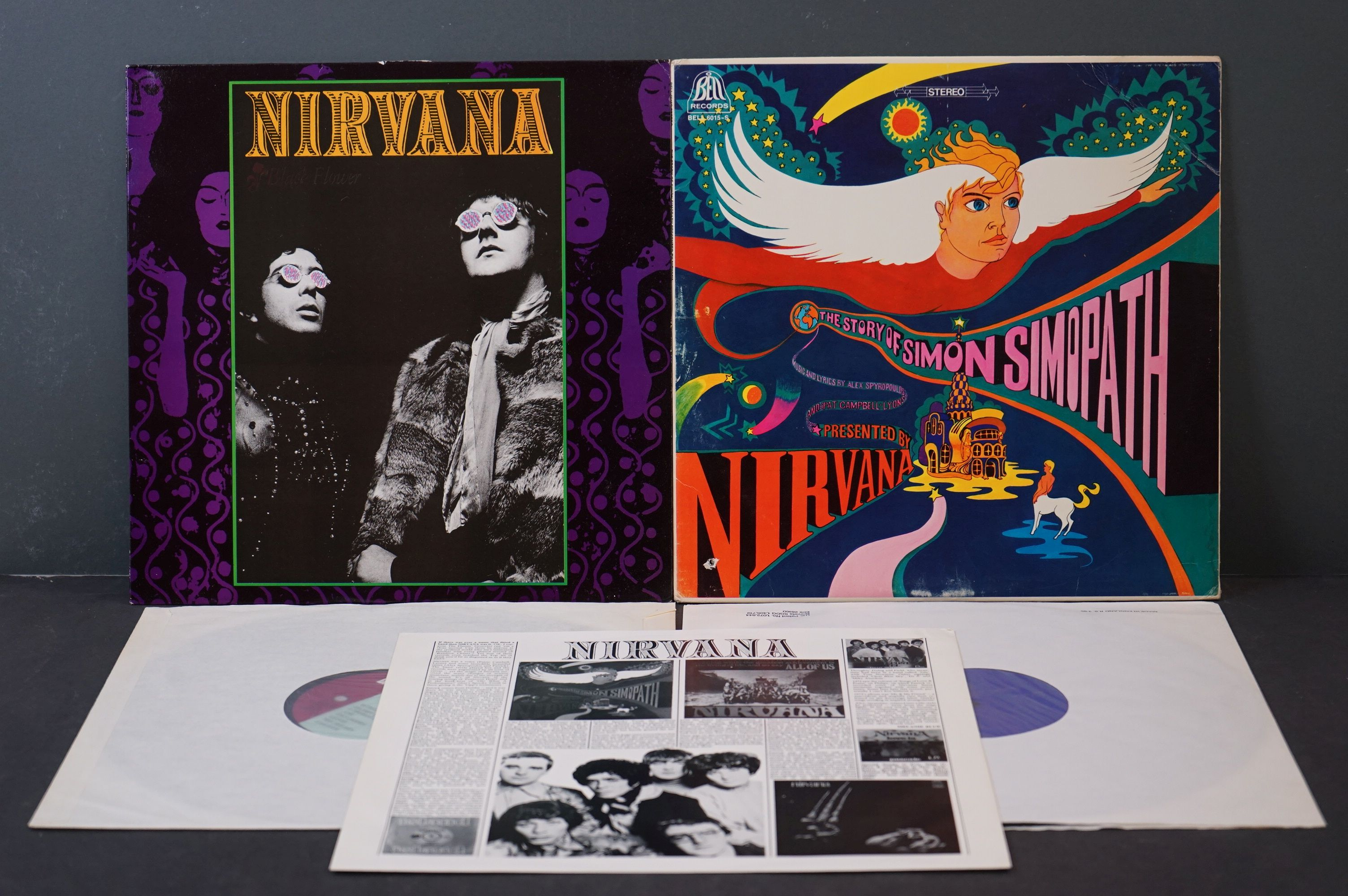 Vinyl - Two Nirvana LPs to include The Story of Simon Simopath LP on Bell Records 6015-S Stereo,