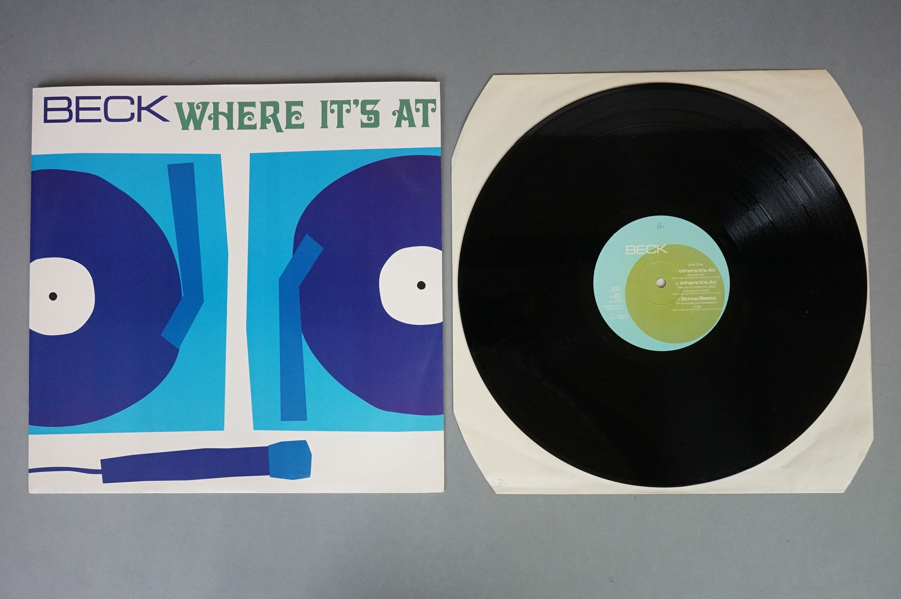 """Vinyl - Beck - Two 12"""" singles to include Loser BL5 and Where It's At, both vg+ with vendor initials - Image 5 of 6"""