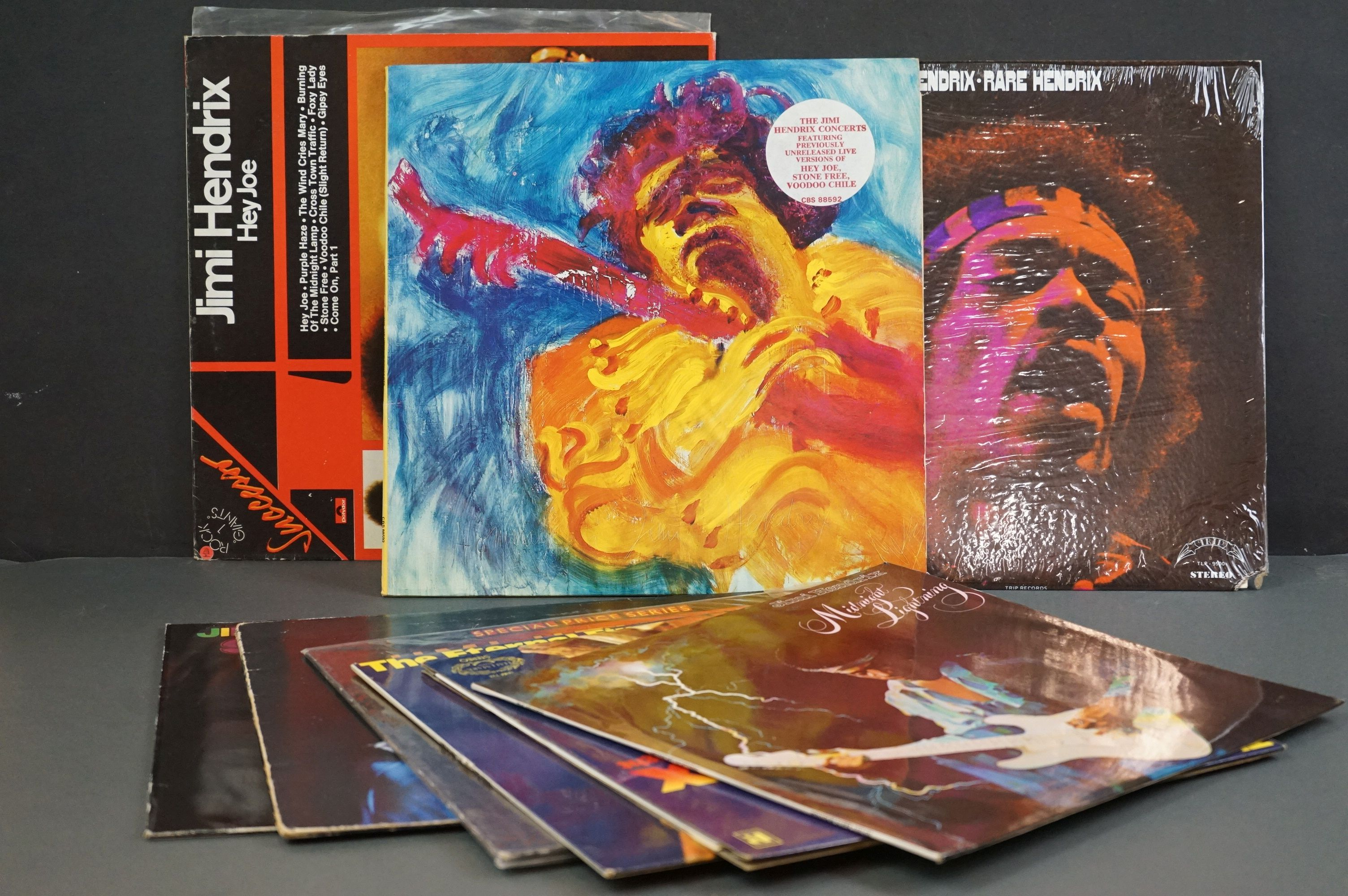 Vinyl - Nine Jimi Hendrix LPs to include Smash Hits, Hey Joe (Italian pressing), Stone Free, Jimi
