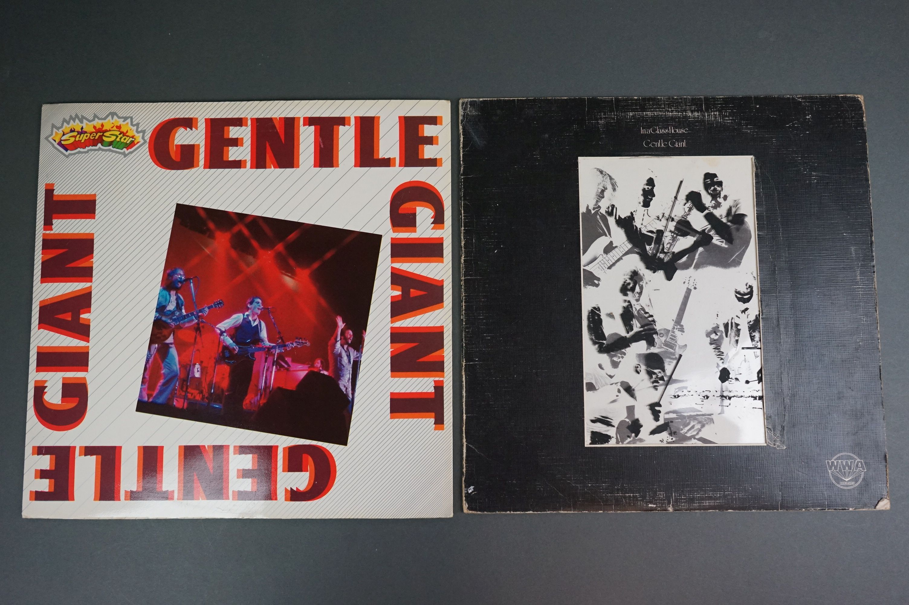 Vinyl - Two Gentle Giant LPs to include In A Glasshouse WWA002 Photograph card and printed inners,