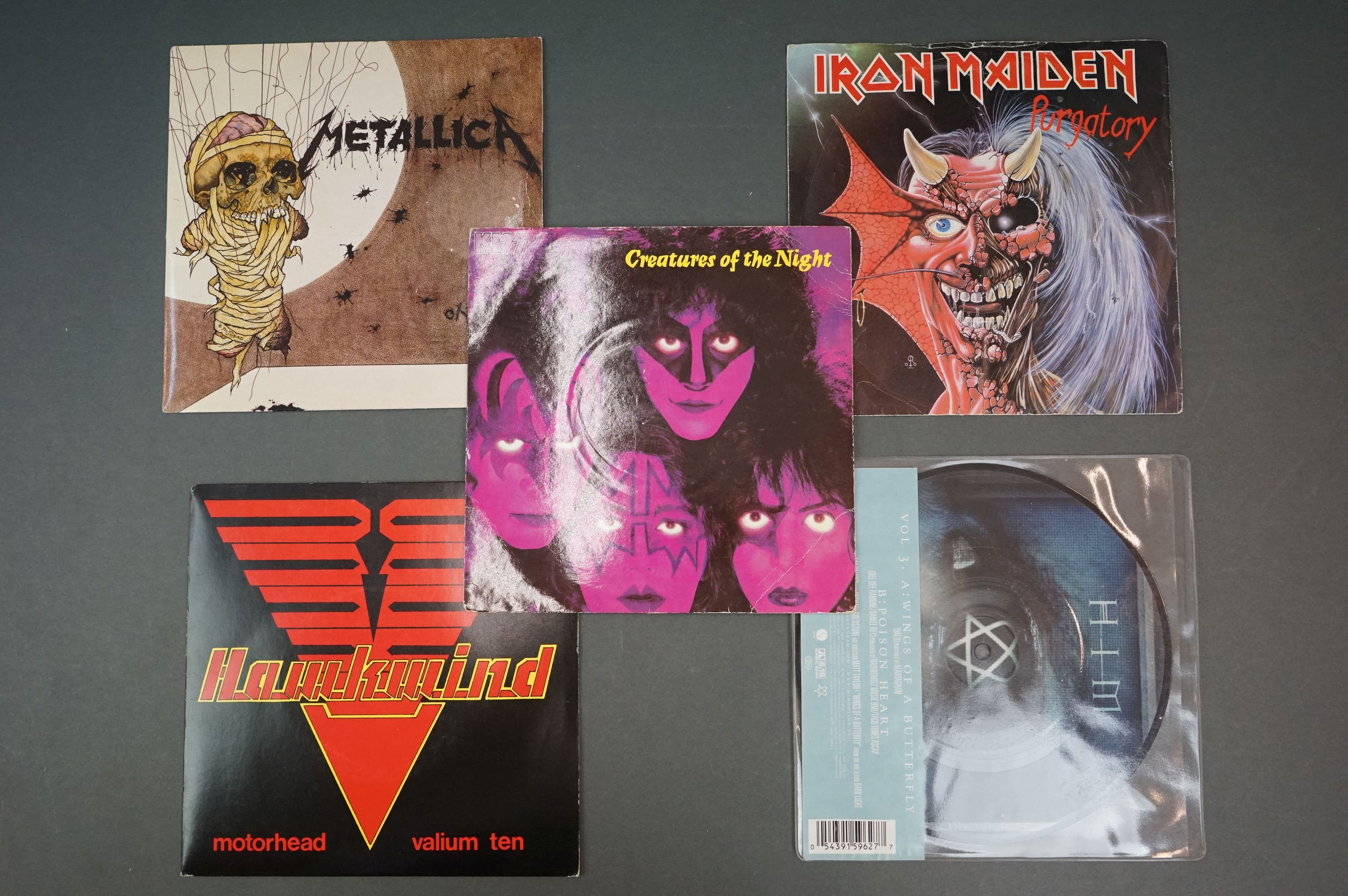 """Vinyl - Metal / Rock collection of 8 7"""" singles including Iron Maiden The Angel & The Gambler - Image 3 of 4"""