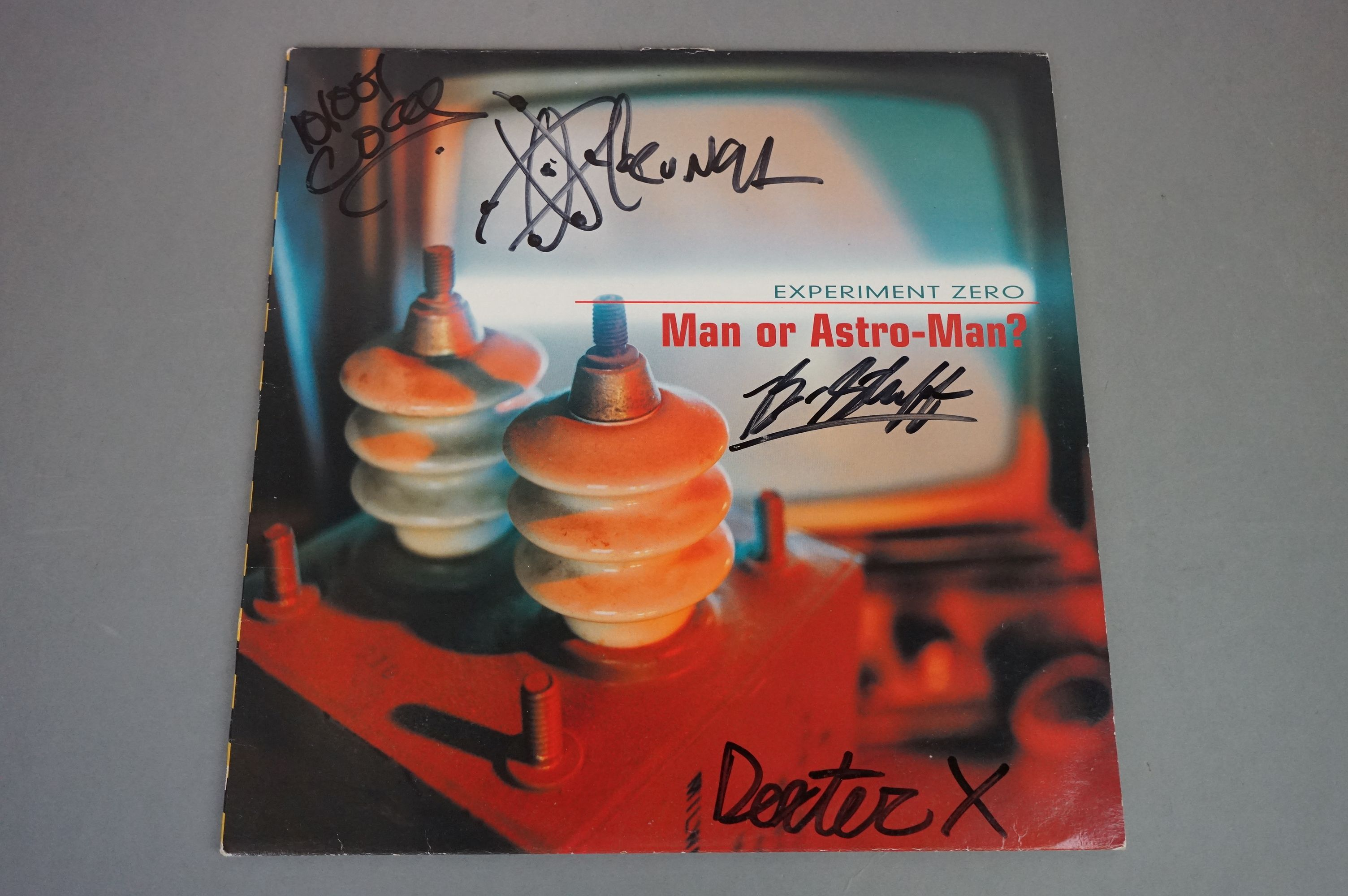 Signed Vinyl - Man Or Astro Man? Experiment Zero LP on Louder 12, yellow vinyl, some damage to