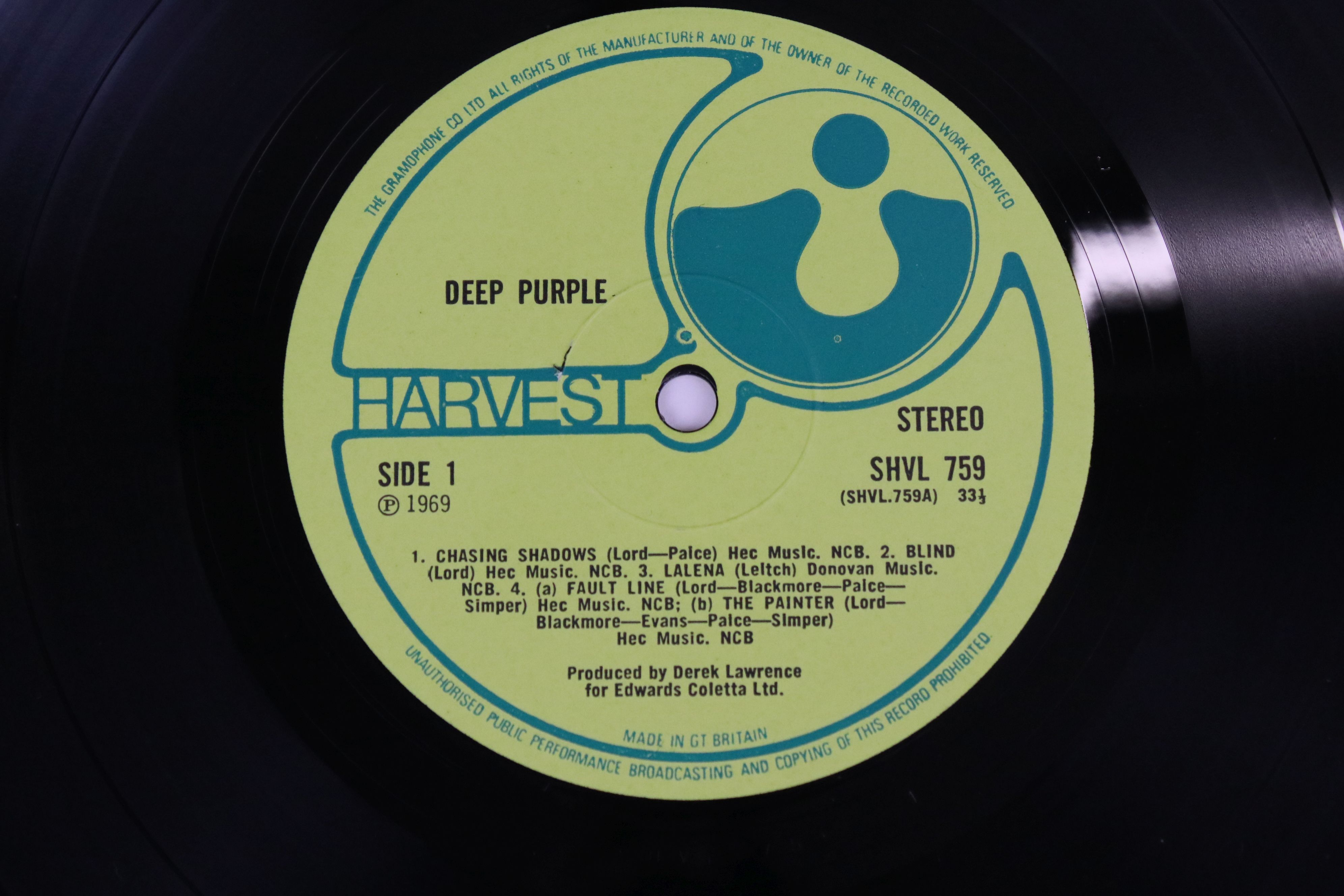 Vinyl - Deep Purple self titled (Harvest SHVL 759) no EMI on label, EMI and Harvest on front sleeve, - Image 3 of 5