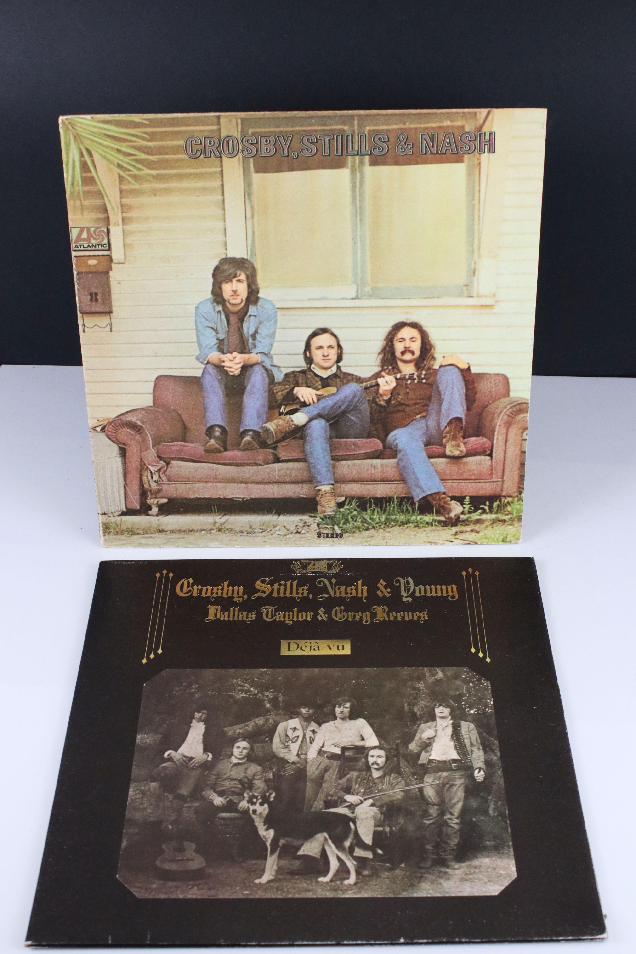 Vinyl - Crosby, Stills, Nash & Young Deja Vu (Atlantic 2401 001) red and plum Atlantic label with