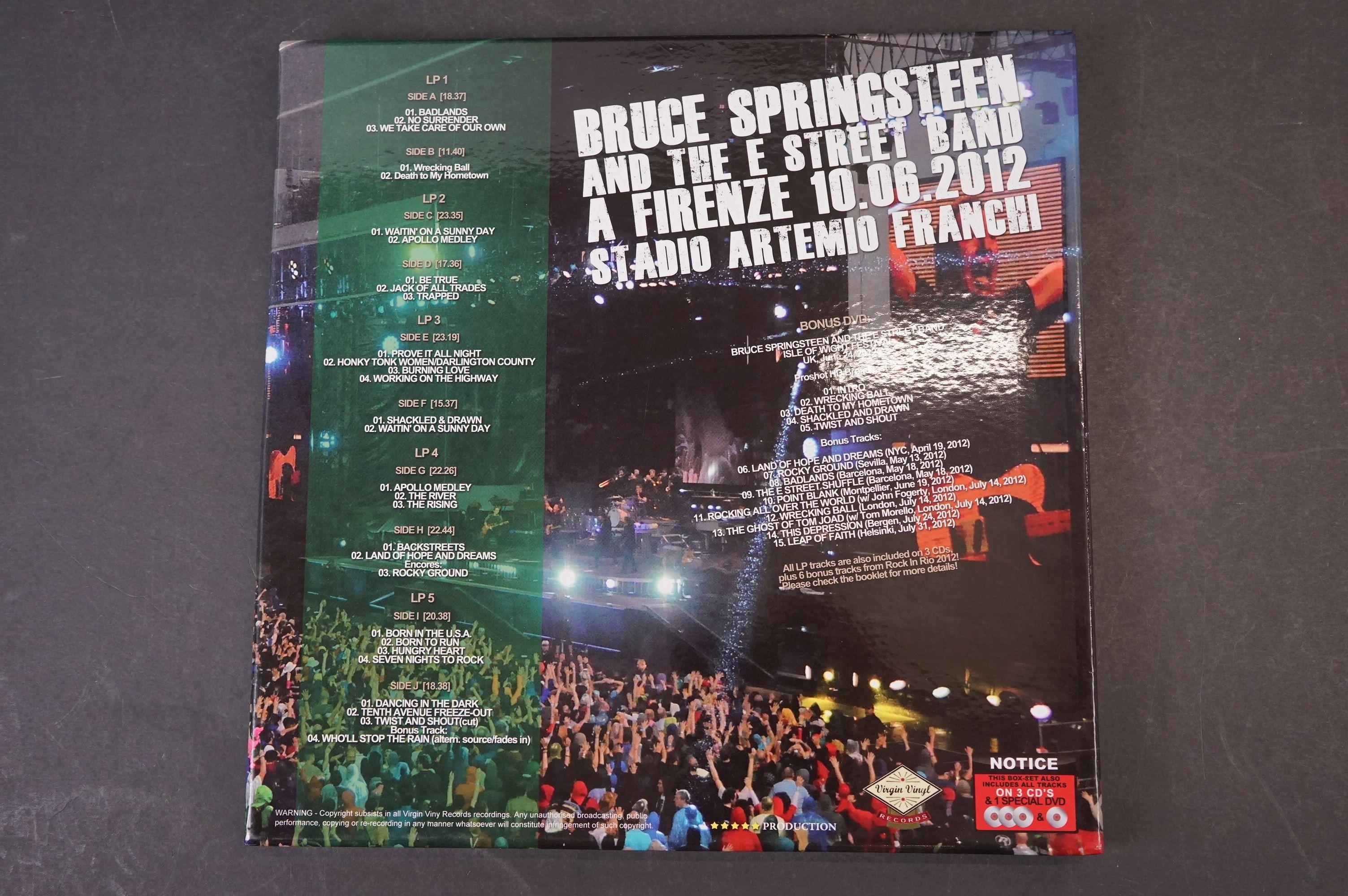 Vinyl - ltd edn Bruce Springsteen and The E Street Band A Firenze 10.06.2012 5 LP 3 CD 1 DVD heavy - Image 9 of 10