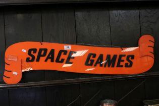 Retro / Mid century Orange Plastic Fairground / Amusements Sign marked ' Space Games ' to one side