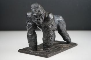 Bronze figure of a male gorilla, 21 cm long x 12 depth x 12 cm tall, signed and number 9/12 signed