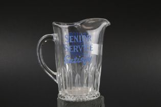 Early to Mid 20th century Advertising Glass Water Jug ' Senior Service Satisfy ', 17cms high