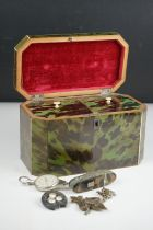 Early 19th century Green Stained Tortoiseshell Tea Caddy, the hinged lid enclosing two section