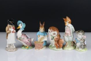 Six Early Beswick Beatrix Potter Figures, all with gold oval backstamps, including Pickles, Cecily