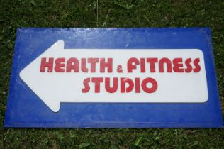 Mid 20th century Retro Plastic Advertising Sign ' Health & Fitness Studio ' within an Arrow,