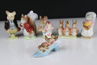 Six Early Beswick Beatrix Potter figures with gold oval back stamps to include The Old Women Who