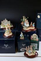 Seven Boxed Border Fine Arts Beatrix Potter Figures to include Mrs Rabbit And Children, Peter Rabbit