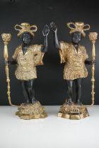Pair of gilded bronze Italian style Blackamoor candlesticks 39 cm tall.