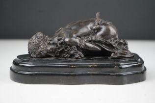 Bronze sculpture of a sleeping figure signed Carpeaux.