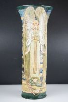 A large Art Nouveau Della Robbia Pottery Cylindrical vase decorated with Angels by Cassandia Anni