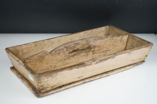 Antique painted wooden cutlery tray.