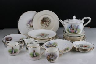 Collection of Grimwades Beatrix Potter Tea Ware to include Saucers, Plates, Teapot, and Jugs (