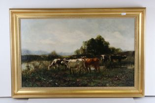 Antique gilt framed oil on canvas painting, cattle in a rural landscape with indistinct signature