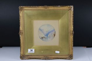 After J M W Turner, watercolour depicting a boat on a Fjord, 11 cm diameter, framed and glazed