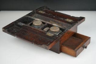 19th century rosewood travelling writing box with single drawer.