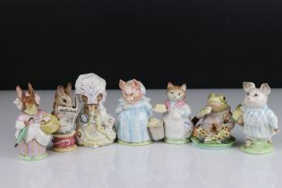 Seven Early Beswick Beatrix Potter Figures with Gold oval back stamps including Ribby, Jeremy