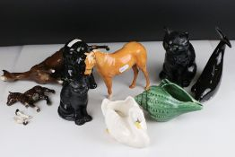 A small group of mixed ceramics to include Beswick horses and a Sylvac cat, plus a Boxed Bohemia