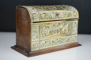 Art Nouveau stationary box with brass decoration.