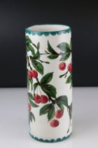 Wemyss Pottery Vase with cherry decoration marked to underside Made In Scotland For W Rowland & Sons