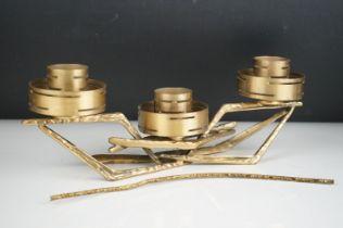 Modernist Brass Three Branch Candle Holder, 36cms long