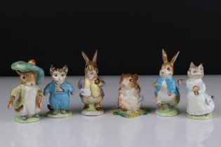 Six Early Beswick Beatrix Potter figures to include Mr Benjamin Bunny, Peter Rabbit, Timmy Town