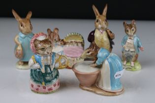 Six Early Beswick Beatrix Potter Figures, all with oval gold back stamps to include Mr Benjamin